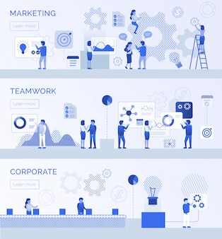 Teamwork unternehmensmarketing landing page flat set