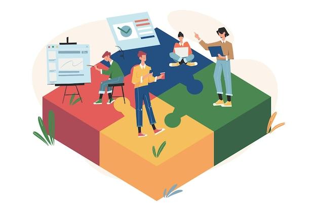Teamwork verbindet puzzle-elemente