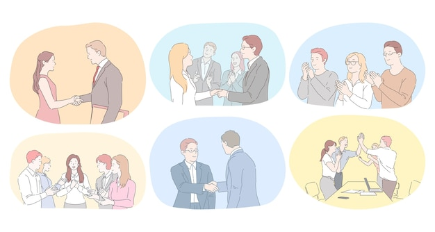 Teamwork, vereinbarung, entwicklung im bürokonzept. geschäftsleute partner mitarbeiter händeschütteln