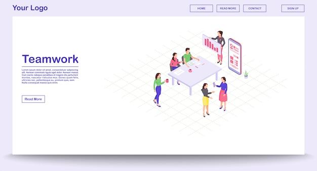Teamwork-webseitenvorlage mit isometrischer illustration