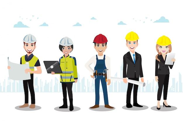 Teamwork-zeichentrickfilm-figur oder flache art des ingenieurs, des technikers, der erbauer und der mechanikerleute.