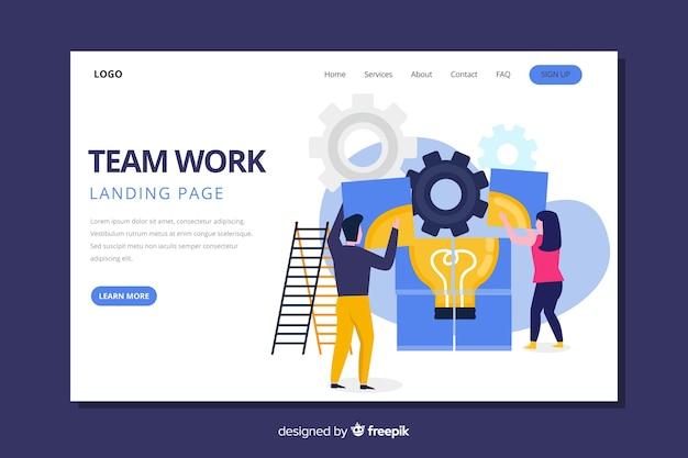 Teamwork-zielseite mit den mitarbeitern, die ein puzzlespiel tun