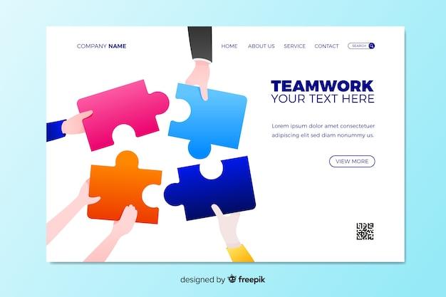 Teamwork-zielseite mit puzzlespiel