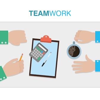 Teamworkhände, die zusammen vektorillustrationsgrafikdesign bearbeiten