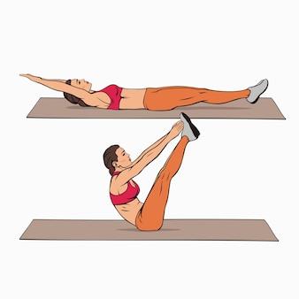 Teaser übung pilates abs training bild