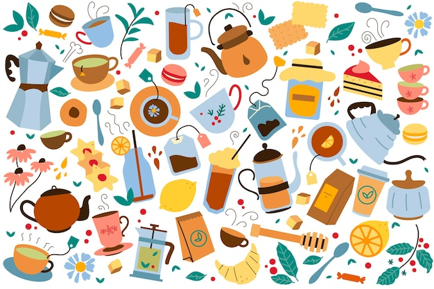 Teatime doodle set. sammlung von bunten teekannenbeuteln kesselkekse und honig lokalisiert auf weiß. ungesunde ernährung mit koffeinkarikaturillustration.