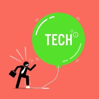 Tech bubble an der börse. das kunstwerk zeigt einen glücklichen geschäftsmann, der immer wieder einen luftblasenballon aufbläst, um ihn immer größer zu machen.