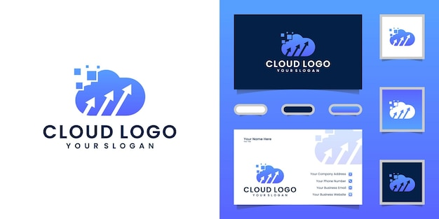 Tech cloud logo mit pfeil und visitenkarte