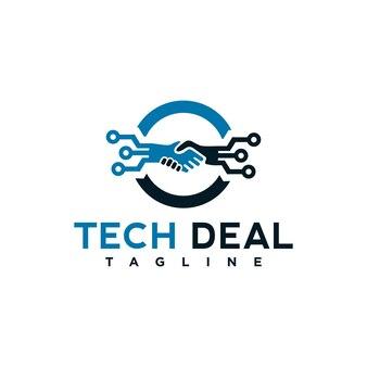 Tech-deal-logo-vorlagenelement mit hand schütteln illustration