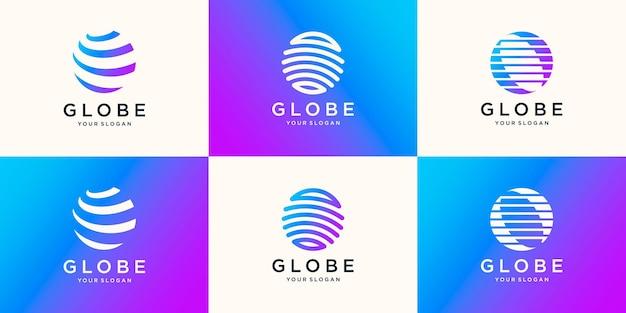 Tech globe logo design für das internationale geschäft der globalen technologieindustrie