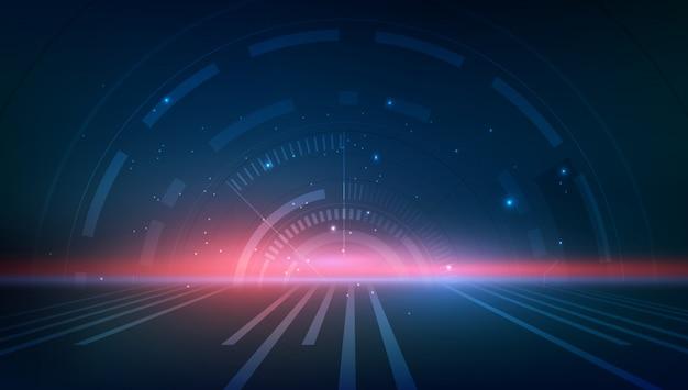 Tech-konzept exemplar dynamische perspektive design hintergrund