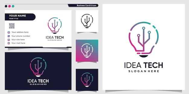 Tech-logo mit kreativem ideen-strichgrafikstil und visitenkarten-design-vorlage, technologie, idee, intelligent