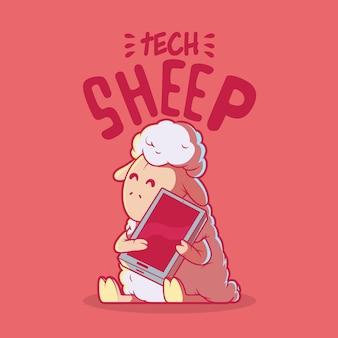 Tech sheep charakter illustration technologie innovation marke design-konzept