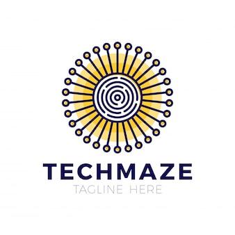 Tech sun labyrinth konzept logo vorlage