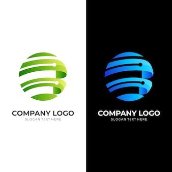 Tech world logo, globus und technologie, kombinationslogo mit 3d-farbstil in blau und grün