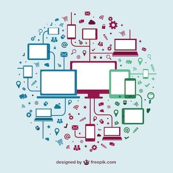 Technik geräte social-media-interaktion vorlage