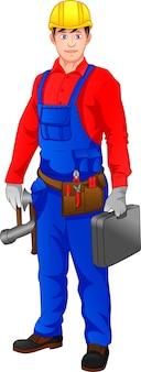 Techniker hält hammer und werkzeugkasten