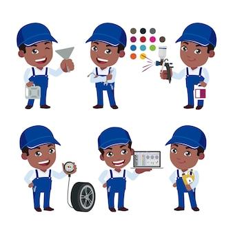 Techniker-set mit verschiedenen posen