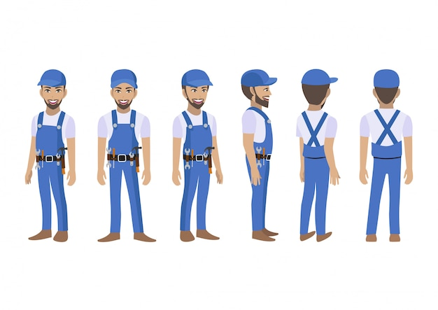 Technikererbauer und mechanikerzeichentrickfilm-figur für animation