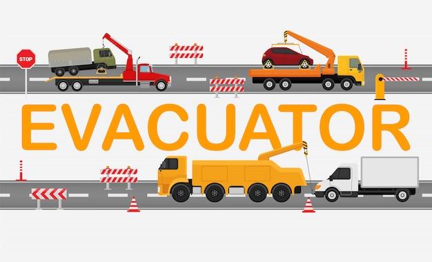 Technische evakuierungsstraße, arbeitsmaschinen-lkw lokalisiert auf weißer, flacher vektorillustration. autobahnstau, abschleppwagen tragen kaputtes auto.