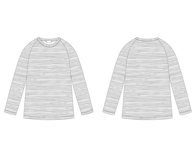 Technische skizze des raglan-sweatshirts aus melange-stoff. design-vorlage für kinderbekleidung.