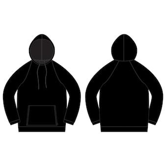 Technische skizze für männer hoodie in schwarzer farbe.