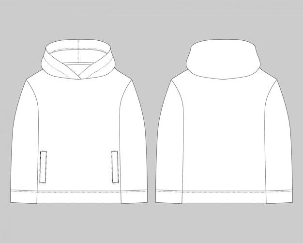 Technische skizze für männer hoodie