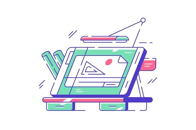 Technische tabelle zur zeichnungsillustration. moderner schreibtisch für architektenarbeiten mit blaupausen im flachen stil. lampe und bildschirm. architekturkonzept. isoliert