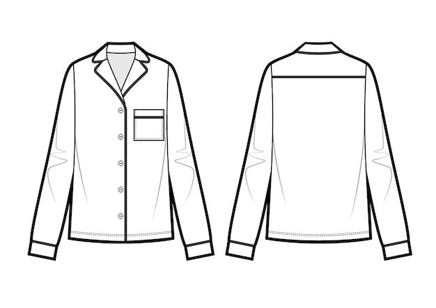 Technische zeichnung der pyjamabluse