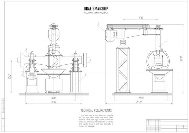 Technische zeichnung des bauprojekts der standgestaltung