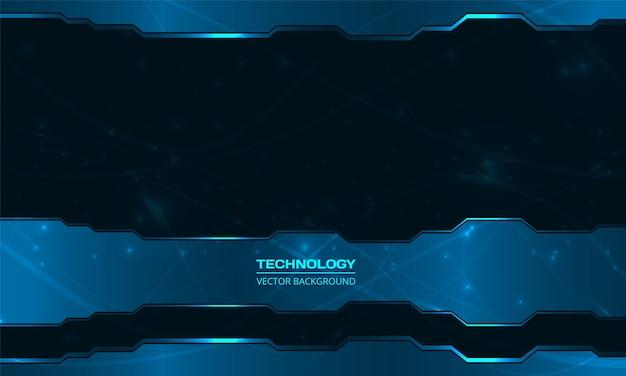 Technischer dunkelblauer abstrakter hintergrund der technologie. dunkelblauer abstrakter metallischer rahmenlayout-designinnovationshightech-konzepthintergrund.