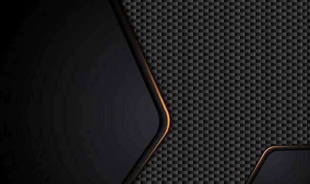Technischer schwarzer hintergrund mit kontrastgelben streifen.