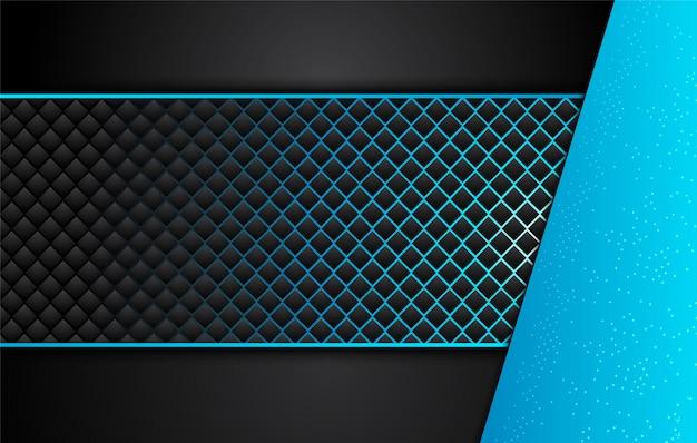 Technischer schwarzer hintergrund mit kontrastierenden blauen streifen.