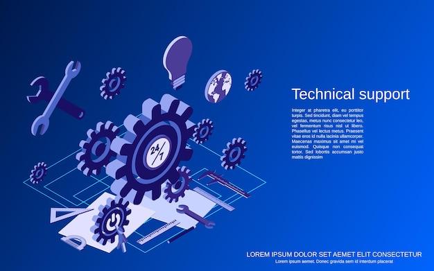 Technischer service, flache isometrische konzeptillustration des online-kundensupports