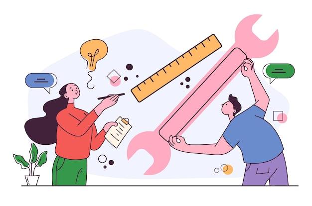 Technischer service projektentwicklungskonzept grafikdesign illustration