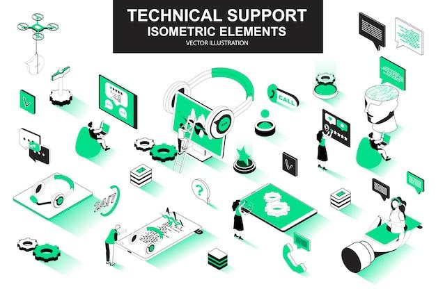 Technischer support 3d isometrische linienelemente