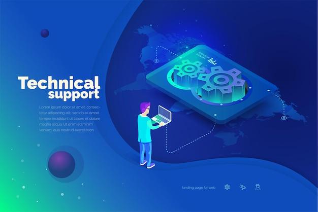 Technischer support ein mann interagiert mit einem technischen support-system