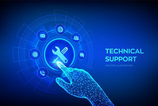 Technischer support. kundenhilfe. roboterhand, die digitale schnittstelle berührt.
