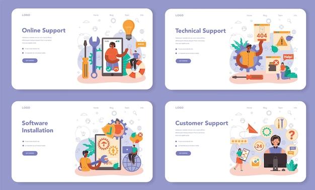 Technischer support web-banner oder landing-page-set. berater helfen einem kunden bei technischen problemen und versorgen den kunden mit einstellungsinformationen. fehlerbehebung. flache vektorillustration