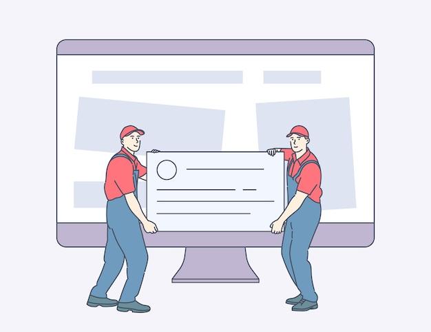 Technischer support website-wartung website-wartungsdienste paar servicetechniker oder mechaniker, die werkzeuge gegen den computermonitor halten und tragen