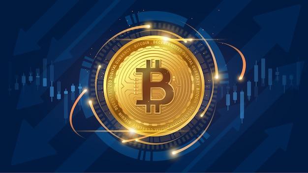 Technisches diagramm von bitcoin im futuristischen konzept mit trendhintergrund