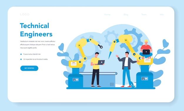 Technisches engineering web landing page konzept. technologie und wissenschaft. berufliche tätigkeit zum entwerfen und bauen von maschinen. architekturarbeit oder designer. isolierte flache vektorillustration
