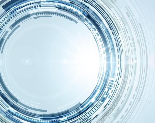 Techno digitale kreise abstrakten hintergrund. blaues scheibendesign mit weißen dynamischen ringen.