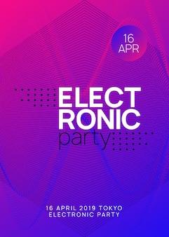 Techno-event. helles konzertmagazin-design. dynamische verlaufsform und -linie. neon-techno-event-flyer. electro-dance-musik. elektronischer klang. trance-fest-plakat. club-dj-party.