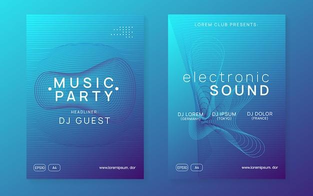 Techno-event. moderne diskothek einladungsset. dynamische verlaufsform und -linie. neon-techno-event-flyer. electro-dance-musik. elektronischer klang. trance-fest-plakat. club-dj-party.