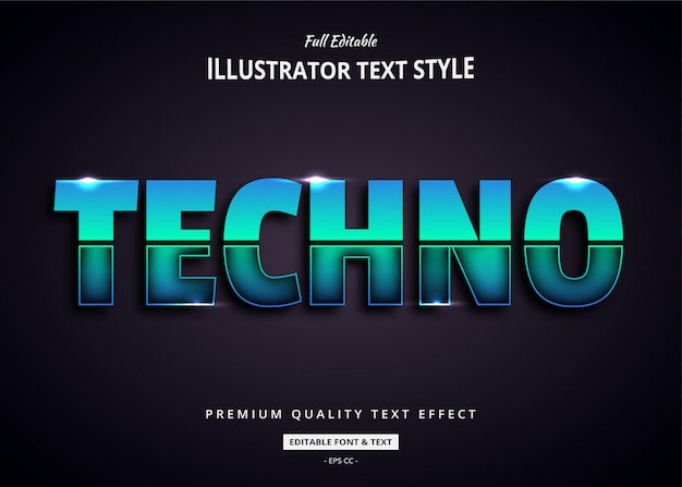 Techno future 3d text style effekt