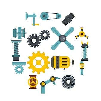 Techno mechanismen kit symbole in flachen stil festgelegt
