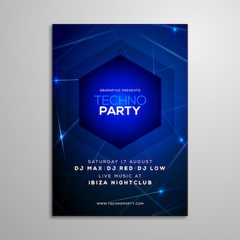 Techno-musik-party-plakat-schablone