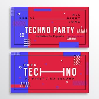 Techno night party club einladungskarte oder flyer vorlage. moderner abstrakter flacher schweizer stil hintergrund mit dekorativen streifen, zick-zack und typografie. rote, blaue farben. weiche realistische schatten.