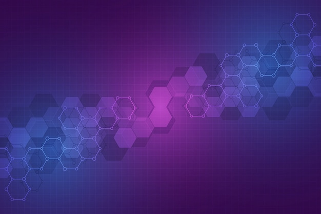 Technologie abstrakten hintergrund. geometrische textur mit molekularen strukturen und chemieingenieurwesen